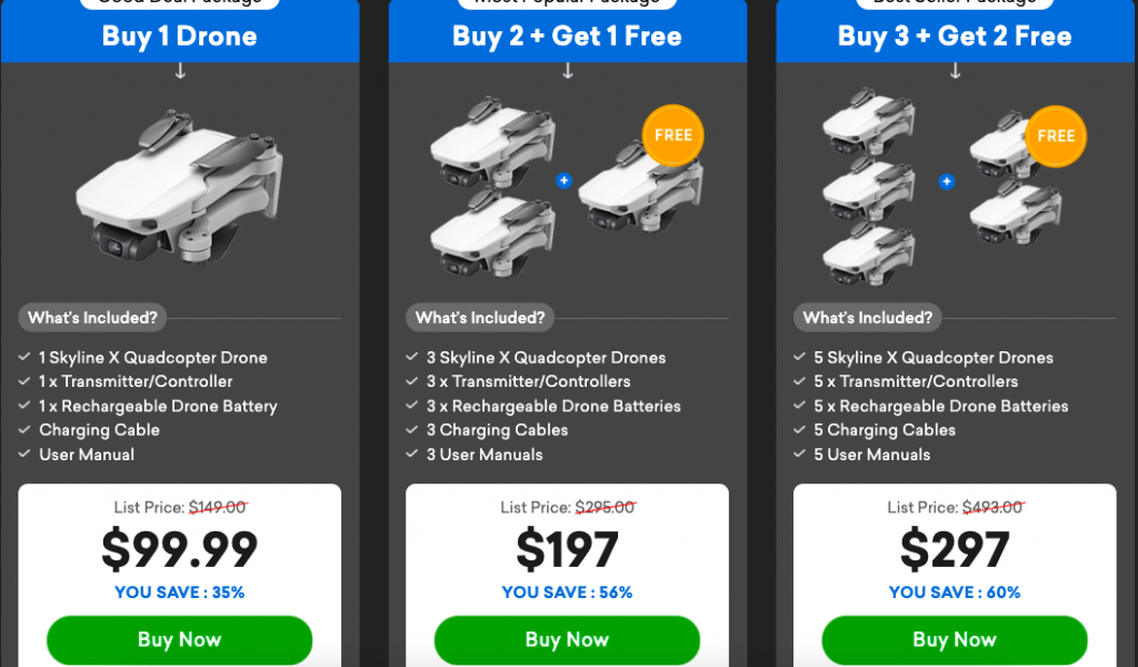 An image of different price of Skyline Drone