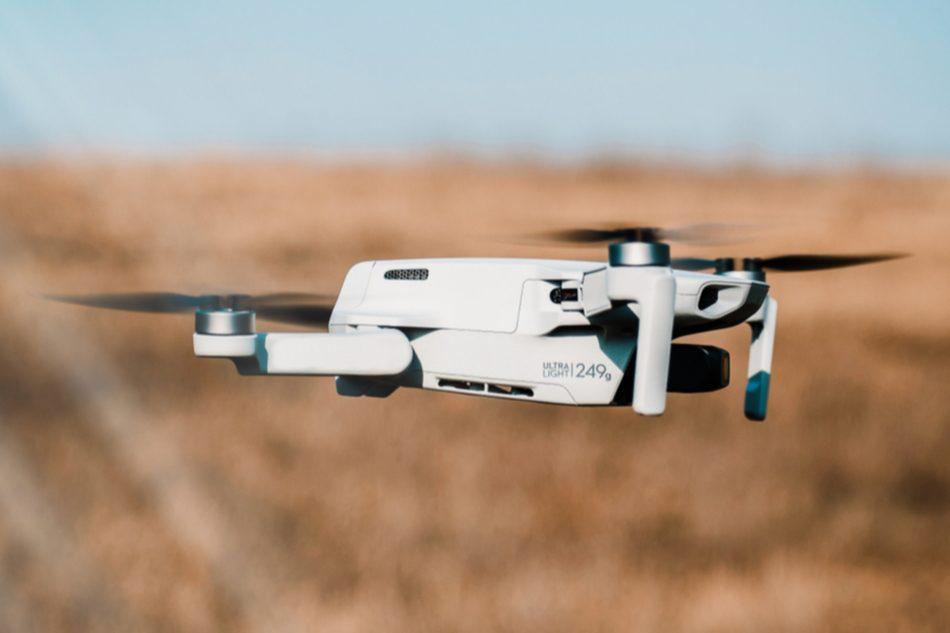 A drone flying in open area